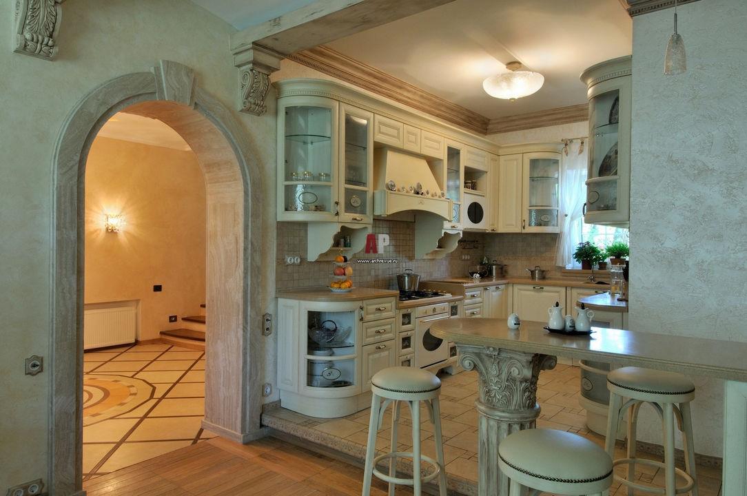Интерьер кухни загородного дома фото